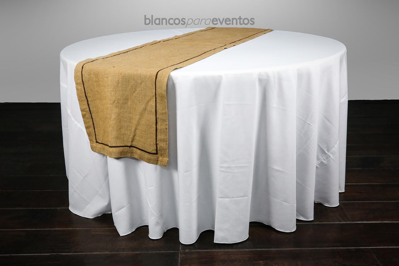 BLANCOS PARA EVENTOS - CAMINO DE MESA YUTE CON DETALLE